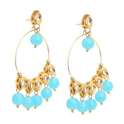 Zephyrr Fashion Traditional Gold Tone Earrings with Kundan Meenakari Beads For Girls and Women