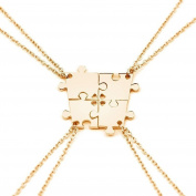 Bluelans 4Pcs Interlocking Jigsaw Puzzle Pendant Chain Necklace Family Best Friends Gift