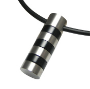 Men's Stainless Steel Necklace Black Cylinder Solid Resin Pendant on Leather Necklace Mens Jewellery by Kikuchi