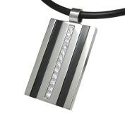 Men stainless steel tag pendant necklace SILVER BLACK CLEAR WITH LEATHER NECKLACE Mens Jewellery by Kikuchi