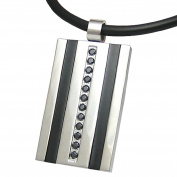 Men's Stainless Steel Necklace Pendant Tag Black Crystal Silver Leather Necklace Mens Jewellery by Kikuchi