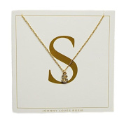Johnny Loves Rosie Women Gold Plated Glass Chain Necklace of Length 48cm S Initial Gift Card