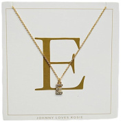 Johnny Loves Rosie Women Gold Plated Glass Chain Necklace of Length 48cm E Initial Gift Card
