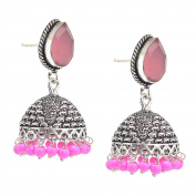 Zephyrr Fashion Pierced German Silver Jhumki Earrings with Stone & Beads For Girls and Women