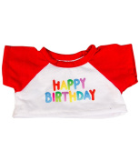 """Happy Birthday T-Shirt w/Red Fits Most 8""""-10"""" / 20cm Teddy Bears, Webkinz, Shining Star and 8""""-10"""" Make Your Own Stuffed Animals"""