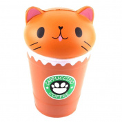 Squeeze Toys, Cut Cappuccino Coffee Cup Cat Scented Squishy Slow Rising Decompression Toys Stress Reliever Soft Toy Collection Cure Gift 14cm