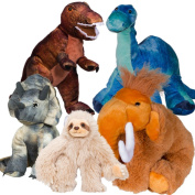 Splodge Teddy Parties - 13cm x 20cm Make a Pre-Historic Animal Party Pack - No Sew - Dinosaurs, Mammouth, Sloth