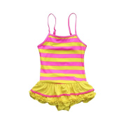 Baby Swimwear, SMILEQ Toddler Kid Baby Girl Striped Ruffles Swimsuits Straps Romper Skirt Bathing Outfits