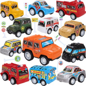 Toy Cars With Road Signs,12 Pieces Pull Back Unique Vehicles Play Set,Mini Cars Including Racing/Emergency/Fire Engine/School Bus/Police/Off Road Cars for Kids Toddlers Over .