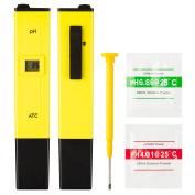 Unique Bargains Digital PH Metre Tester Pocket Aquarium Pool Water Wine LCD Pen Monitor Yellow