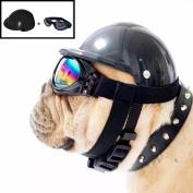Misula Cute Dog Hat Helmet+Windproof Rainproof Aviator Sunglasses For Pet Cat Costume/Puppy Sport ABS Plastic Toy Helmet Cap Of Motorcycle Protect For Pet
