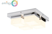 Marco Tielle 4 Light Square Bathroom Ceiling Light In Chrome Finish With White Frosted Glass Square Shades IP44 Zone 2 Rated Supplied With 4 x 2W Cool White IP54 Rated LED Bulbs