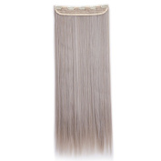 70cm One Piece Clip in Hair Extensions Straight Hairpiece 5 Clips Soft Natural Look for Weomen Beauty, Ash Blonde Mix Silver Grey