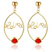 Sterling Silver Stud Earrings, KEERADS Fashion Women's Silver Round Cut LOVE Dangle Hoop Loop Earring