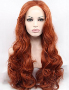SeraphicWig Copper Red Wig New Fashion Body Wavy Synthetic Lace Front Wigs For Party Best Fibre Hair Cosplay Wig For Women Heat Resistant