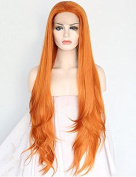SeraphicWig Natural Orange Synthetic Lace Front Wig Long Wavy Makeup Hair Top Quality Layered Smooth Hair Full Wig Heat Resistant