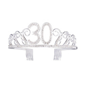 Frcolor 30th Birthday Crystal Tiara Crowns Headband with Hair Combs
