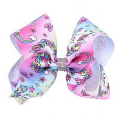 Bodhi2000 Cartoon Unicorn Hair Bows Girls Kids Alligator Clip Grosgrain Ribbon Hair Clips
