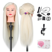 Beautystar 60cm Training Head High temperature Synthetic Hair Hairdressing Cosmetology Mannequin Manikin Training Training Head With Clamp Stand & Gifts