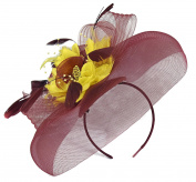 Burgundy Feather Flower Fascinator Hat Veil Net headband Clip Ascot Derby Races Wedding …