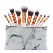 NEW ARRIVE! DELOITO 10pcs Multifunctional Marble Partten Makeup Brush Set Professional Concealer Eyeshadow Brush Kit