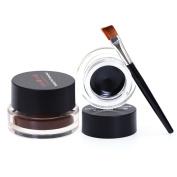 Leisial 2 in 1 Black and Brown Eyeliner Cream Gel + 2 Brushs Waterproof and Long Lasting Quick Dry Cosmetics Tool Liquid for Make Up Eyeline Eye Nose Shadow Eyebrow