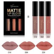 Moresave 3 Colours / Set Matt Flowing Lipsticks Set Long Lasting Waterproof Make Up Pigment Velvet Red Purple Lip Gloss Kit