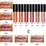 Moresave 6 Colours / Set Metallic Bronze Liquid Lipstick Long Lasting Matte Waterproof Lip Gloss Set Lips Beauty Make up