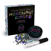 Cosmetic Glitter For Face, Body and Hair - Chunky Silver Holographic Glitter Mix - Essential Festival and Rave Beauty Makeup - Includes Long Lasting Fix Gel So You Can Shine Straight Out of the Box
