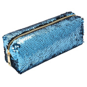 YiZYiF Fashion Double Colour Sequins Handbag Cosmetic Bag Makeup Pouch Storage for Women and Girls Sky Blue & Silver One Size