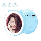 niceEshop(TM) Porable Make-up Mirror with Led Light Compact Makeup Mirror Bright Natural 5200mAh Led Illuminated Travel Makeup for Beauty, Blue