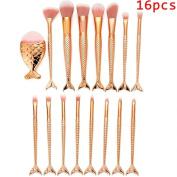 Make up Brushes,   16 PCS   Make Up Foundation Eyebrow Eyeliner Blush Cosmetic Concealer Brushes, Mermaid Bright Makeup Brush Sets Brush