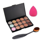 Leisial 15 Colours Concealer Palette Set + Toothbrush + Sponges Puff Pro Cosmetic Makeup Cleaning Face Tool Sponge-Face Powder for Makeup Beauty Nude Look Heavy Makeup