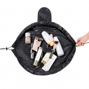 Portable Round Magic Drawstring Storage Bag Travel Cosmetic Organiser Bags Black