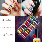 Nail Art Foil Stickers ,IGEMY Nail Art Transfer Foil 10 Colours Sticker For Nail Tip Decoration & Star Glue Set