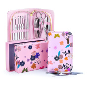 Manicure Pedicure Kit 12Pcs of Stainless Steel Manicure Pedicure Set, Ideal for Travel/ Home Comes With Exclusive Quality Floral Zipper Case