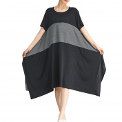 Zhhlinyuan Quality Cotton Stripe Large Black and Grey Stitch Splice Dresses Shirts For Womens Summer