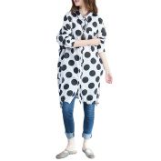 Zhhlinyuan Large Size Casual Shirt Multi Dot Pattern Button Long Sleeve For Womens Ladies Loose