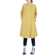 Zhhlinyuan Large Size Round Neck Long Sleeves Dresses Solid Colour Cotton Dress Shirt For Womens