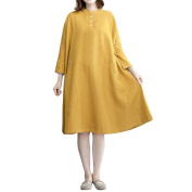 Zhhlaixing Vintage Loose Long Sleeve Ladies Cotton Nine Split Sleeves With Button and Pocket