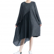 Zhhlaixing Mixed Cotton Stitching Gauze Loose Two Long Section Womens Dress Irregular Solid Dresses