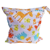 Baby Cloth Nappy Bag Waterproof Reusable Printing Wet Bag with Zipper Snap Handle