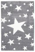Kids rug Happy Rugs STARS silver-grey/white 100x160cm