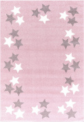 Kids rug Happy Rugs BORDERSTAR pink/silver-grey 120x180cm