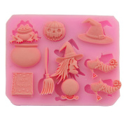 Dosige 1 Pcs Halloween Theme Non-Stick Silicone Cake Baking Moulds Chocolate Jelly Soap Mould Ice Cube Tray