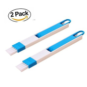 2 in 1 Manual Dust Cleaning Brush for Door and Window Track Groove Corner Brush with Dustpan, Accessories for Kitchen Masion Keyboard, TKSTAR Slot Slot Detachable, Window Door Track Cleaning Tool Groove Corner Keyboard Slot Cleaning Brush Tool 2 PCS blue
