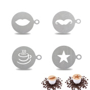 Affe 4 Pcs Stainless Steel Coffee Decorating Stencil Barista Template for Cappuccino Coffee Latte