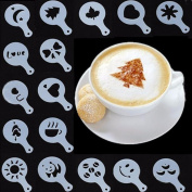 Affe 16 Pcs/Set Coffee Decorating Stencils Barista Template for Dining & Bar Decorating Oatmeal Cupcake Cake Cappuccino Hot Chocolate