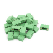 25Pcs AC 300V 15A 5.0mm Pitch 2P Terminal Block Wire Connecting for PCB Mounting