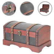 1Plus Treasure Chest Treasure Chest Wooden Chest with Faux Leather (L x D x H), 30 x 17 x 16 cm Brown
